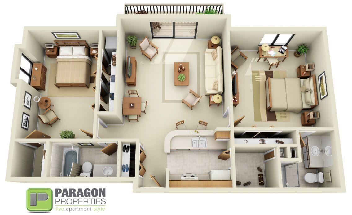 2 Bedroom 2 Bath California Split Paragon Properties Franklin
