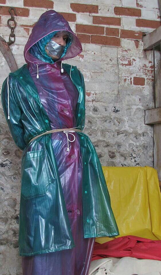 Pvc plastic rainwear raincoat mac bondage