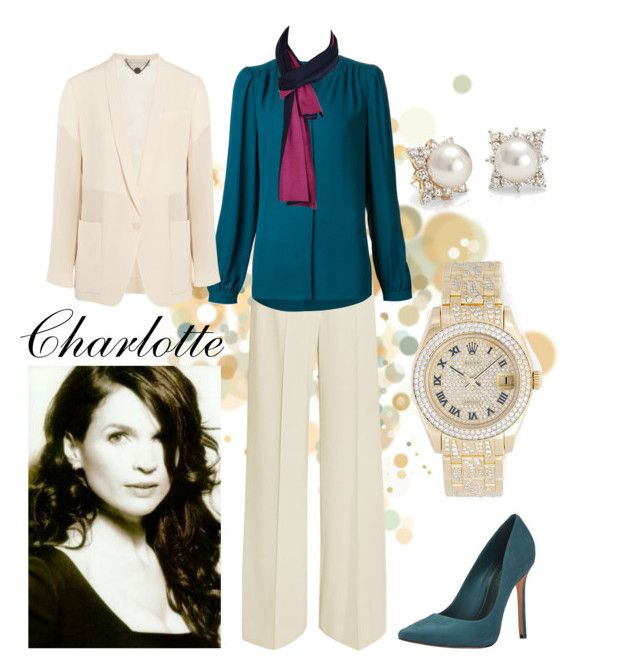 """""""charlotte chandler [a]"""" by sarcasticfina ❤ liked on Polyvore featuring STELLA McCARTNEY, Michael Kors, Schutz, Rolex, Blue Nile and Hermès"""