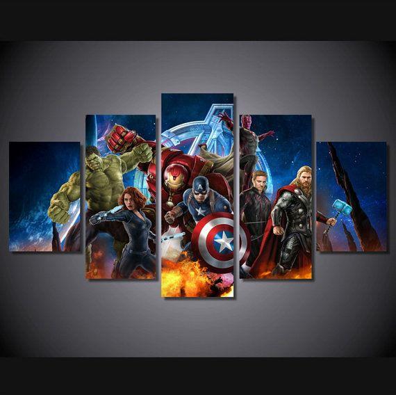 5 pi ce multi marvel comic avengers super h ros groupe murale toile art peinture de haute - Deco chambre super heros ...