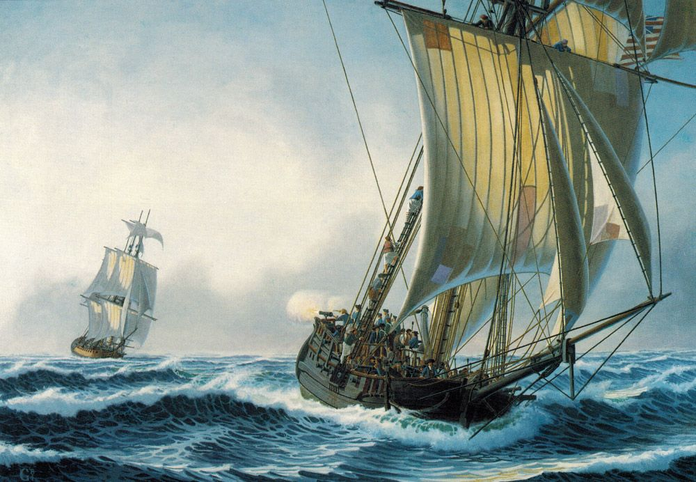 William Gilkerson - Sloop Providence Being Pursued By H.M.S. Soleby