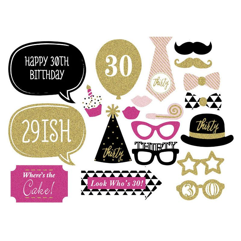 20 Pcs Photobooth Props Birthday 30 Years Old Free Shipping Paper