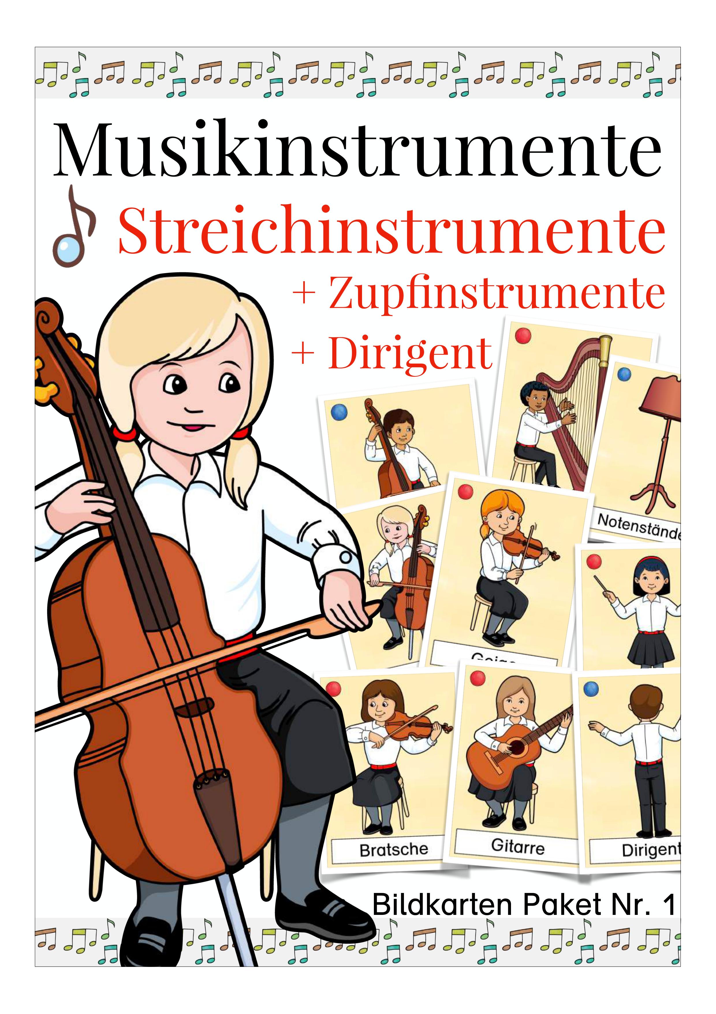 Bildkarten Streichinstrumente, Instrumente, Musik ...