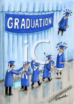 iCLIPART - Gag Cartoon of Kids Graduating