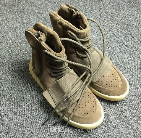 2b73c6f3af66db  Top Quality  YZY Boost 750 Light Grey Gum In The Dark Kanye West Shoes  Basketball Shoes Sneakers 750s Men Sports size 11.5