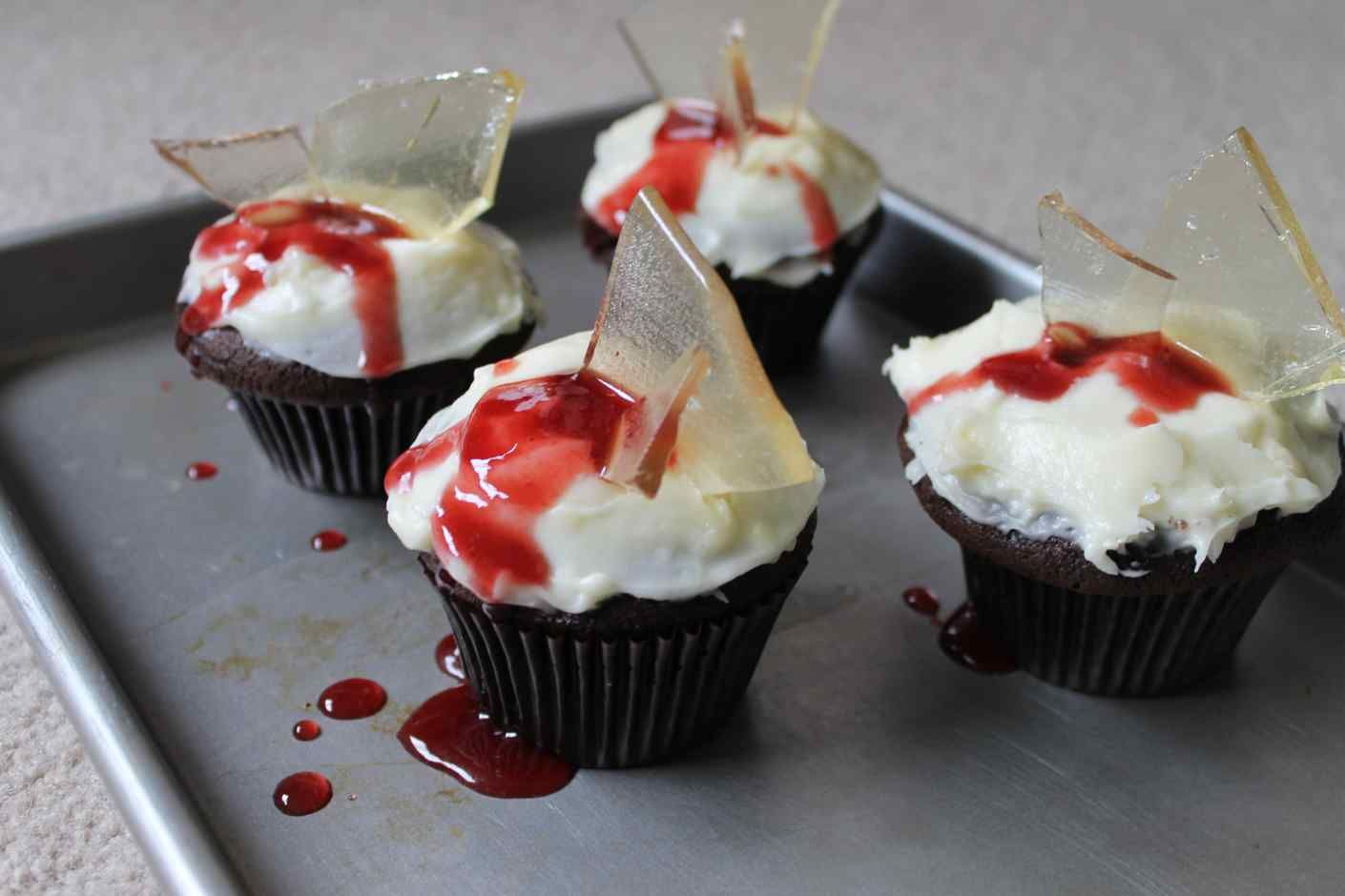 bloody broken glass cupcakes recipe :: story of a kitchen   story of a kitchen