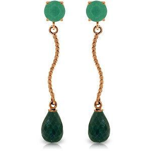 14K Solid Rose Gold Dangling Earrings with Natural Emeralds - 3372-R