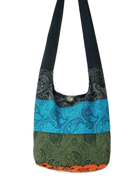 87cbff1a20b2 Hobo Boho Hippie Bag Purse Crossbody Paisley Print Cotton