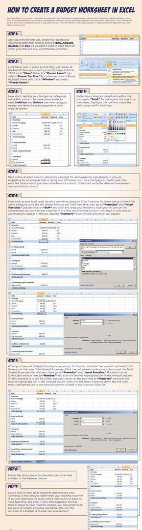 How to Create a Budget Worksheet in Excel savings Pinterest