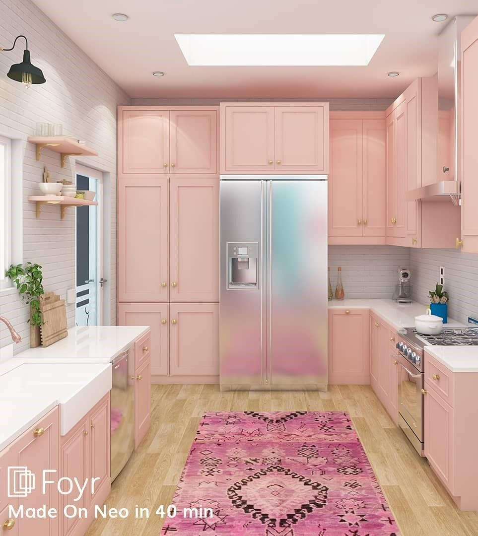 First light transitional kitchen design recipe with pinch of arabic rug and modern ceiling with light wooden flooring. Mix and match of different textures and colors to give it a sense of eclectic style. #foyrneo #interiordesignideas #firstlight #homedecor #interiordesign #interiordecoration #architecture #pinkcolor #wooden #beautifulhomes #interiorhome #kitchenideas #transitionalstyle #vintage #kitcheninteriorideas #architecturaldigest #eclecticstyle #3ddesignsoftware