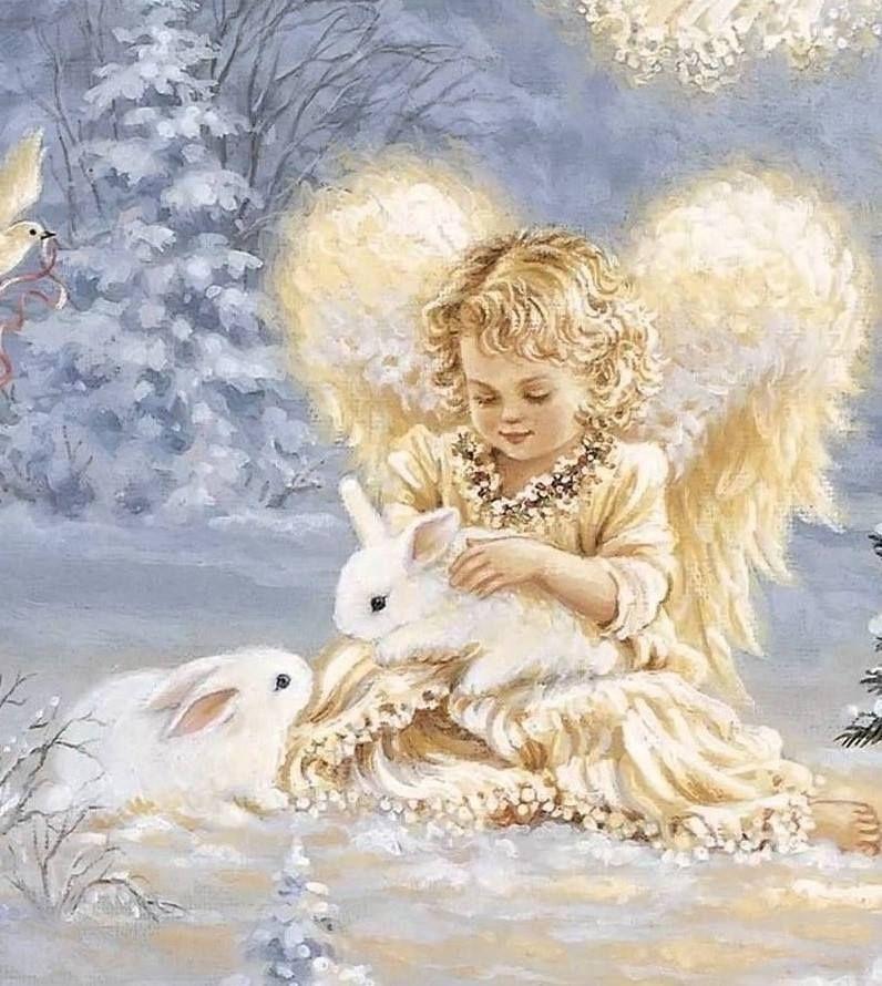 Открытка с рождественскими ангелочками