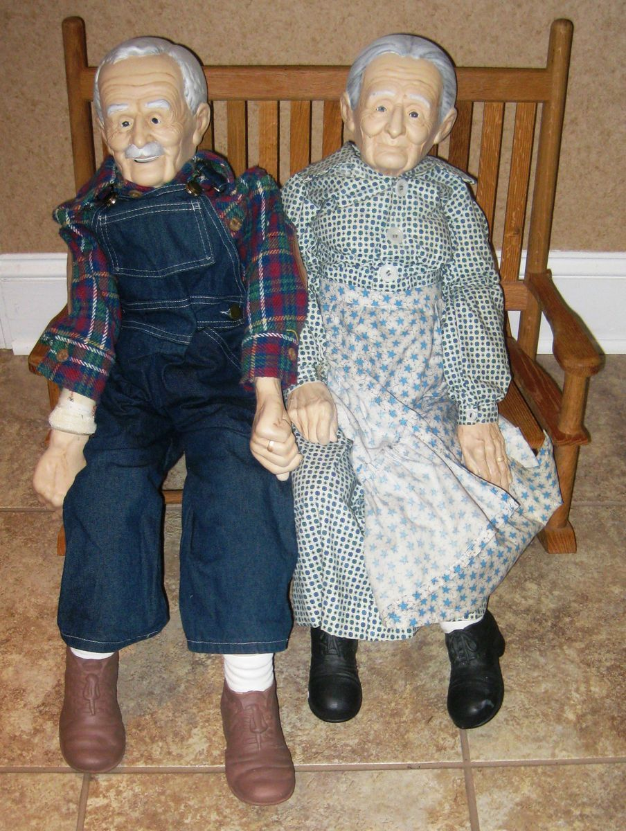Vintage Grandma Grandpa Porcelain Dolls with Bench William