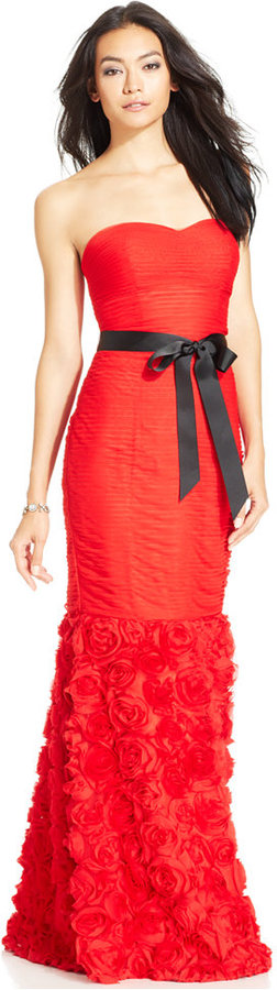 JS Collections Strapless Belted Mermaid Gown | Say Yes to the Mom ...