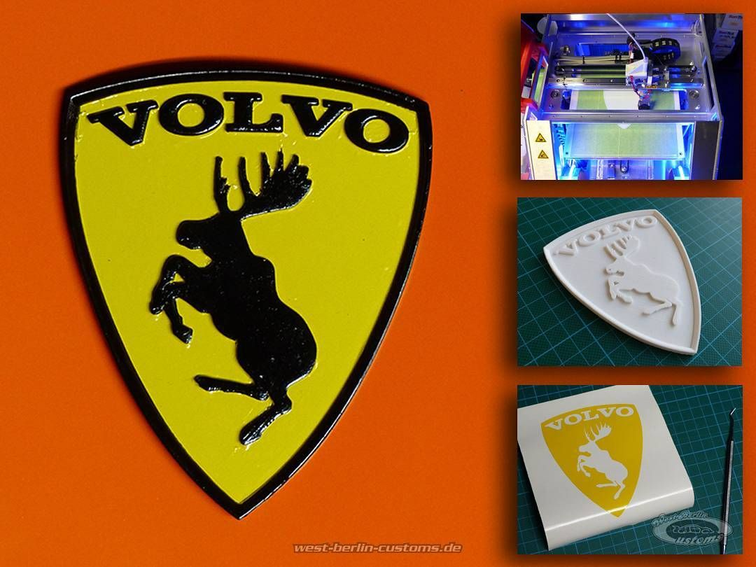 Something we liked from Instagram! There are a lot of Italian cars with a black pony on a yellow background on the road. So we need to focus a little more on Sweden.  This is a quick look into WBC-Creative-Labs: We used some brain vector-  CAD-software a 3D-printer paint vinyl and patience. The result is a individual 110mm emblem for a bagged VOLVO project. ___ Da es einfach schon sehr viele italienische Fahrzeuge gibt die mit einem schwarzen Pony auf gelbem Grund unterwegs sind wurde es…