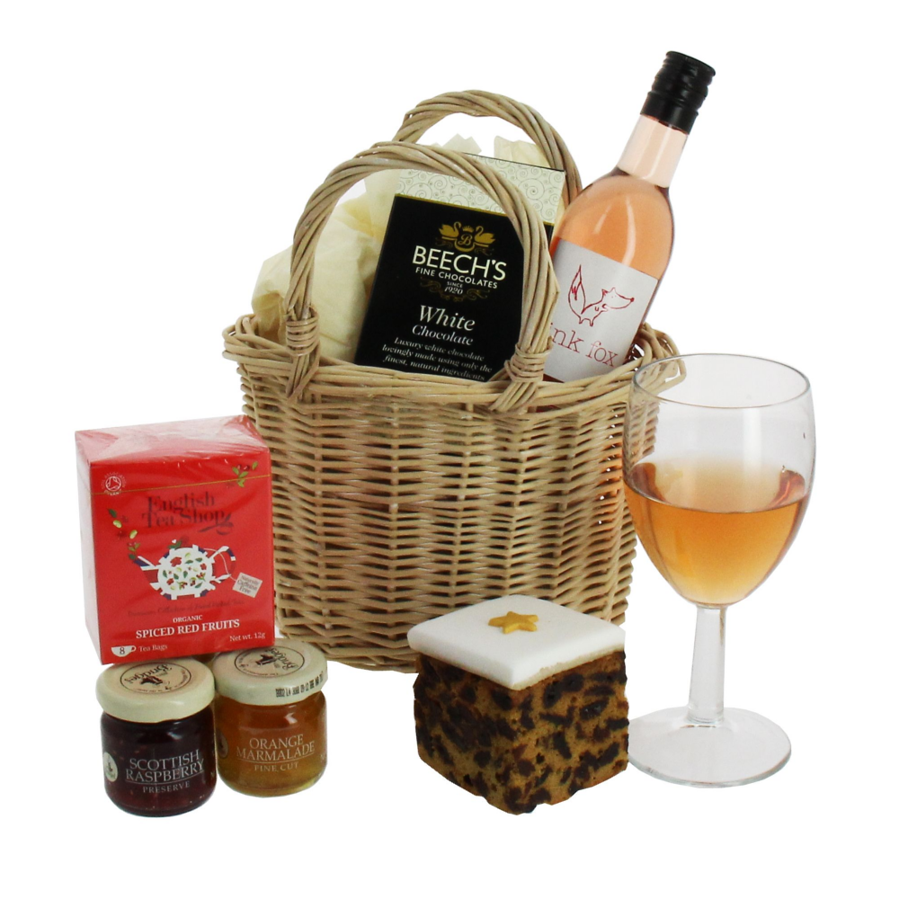 Lady in Pink Wine, Chocolate & Preserves Basket fantastic