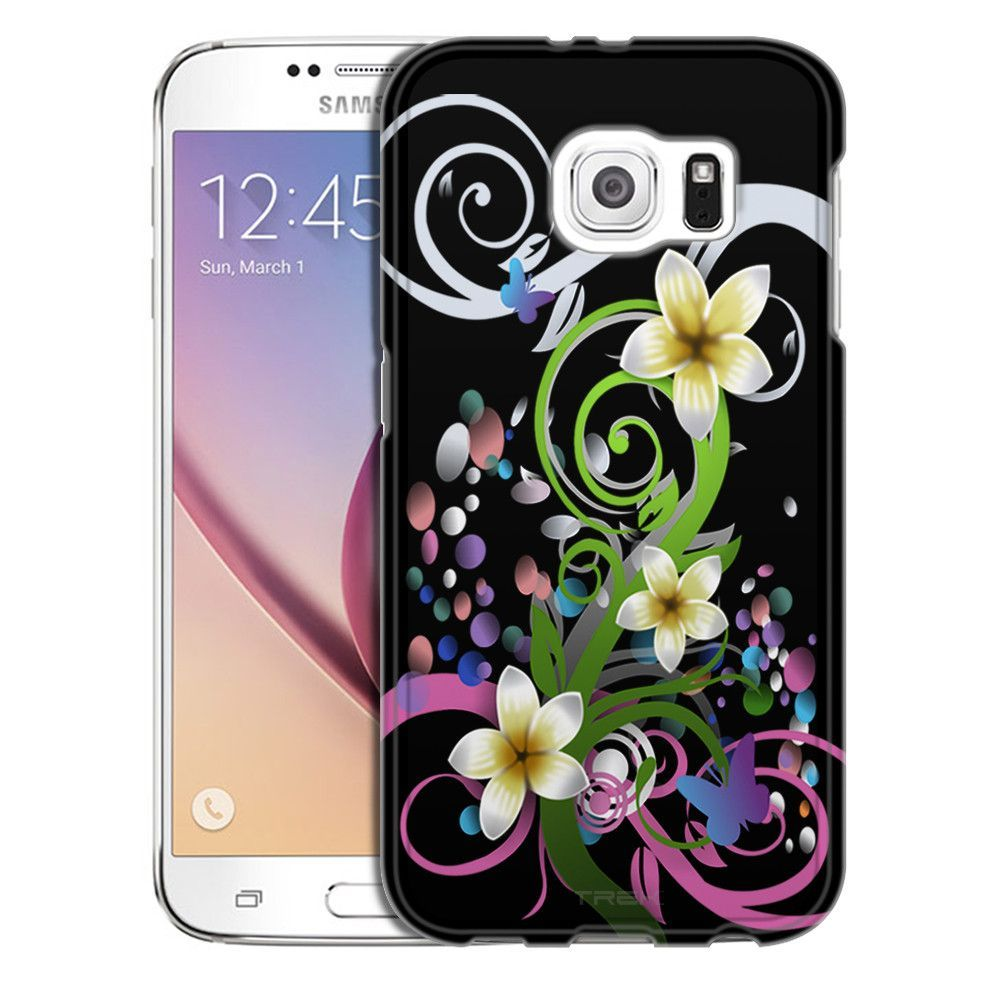 Samsung Galaxy S6 Tropical Flower on Black Slim Case
