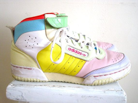 vintage 80s 90s Adidas PASTEL color block high-top leather sneakers velcro  shoes women's 7