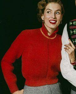Windbreaker sweater knit pattern from Sweaters of Nylon or Wool, American Thread Company, Star Sweater Book No. 92, in 1952.