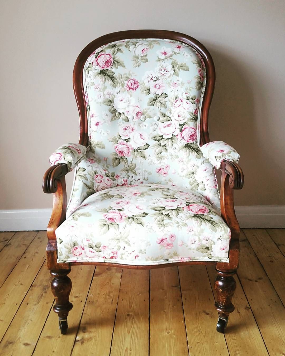 new style 0a3c5 96f68 Antique nursing chair reupholstered in fabric from Dunelm ...
