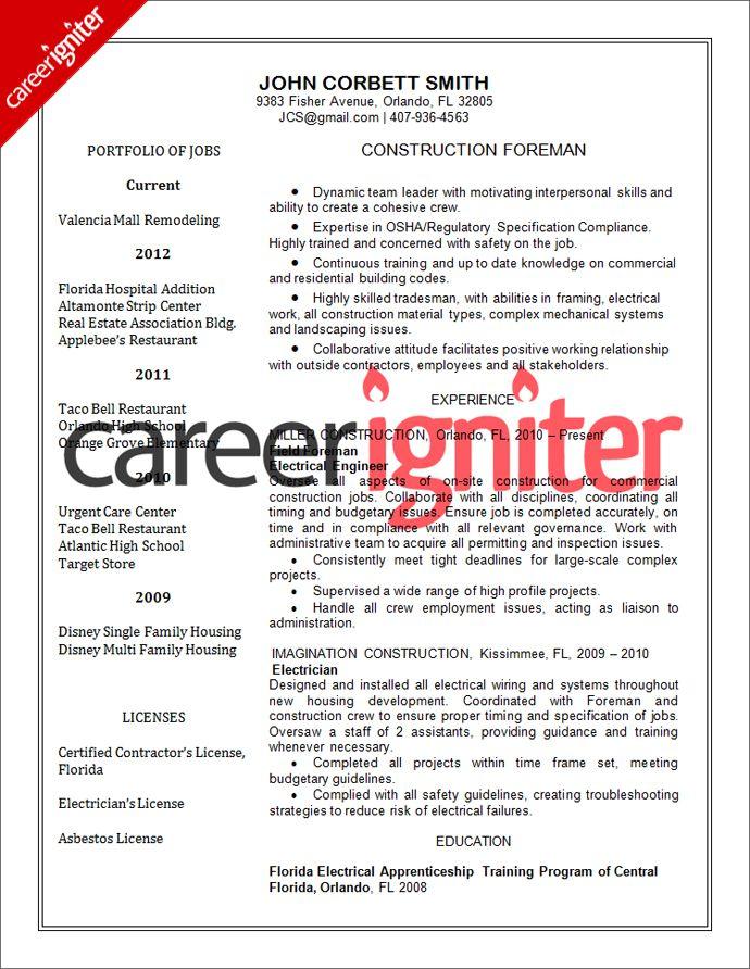Construction Resume Sample Resume Pinterest Construction