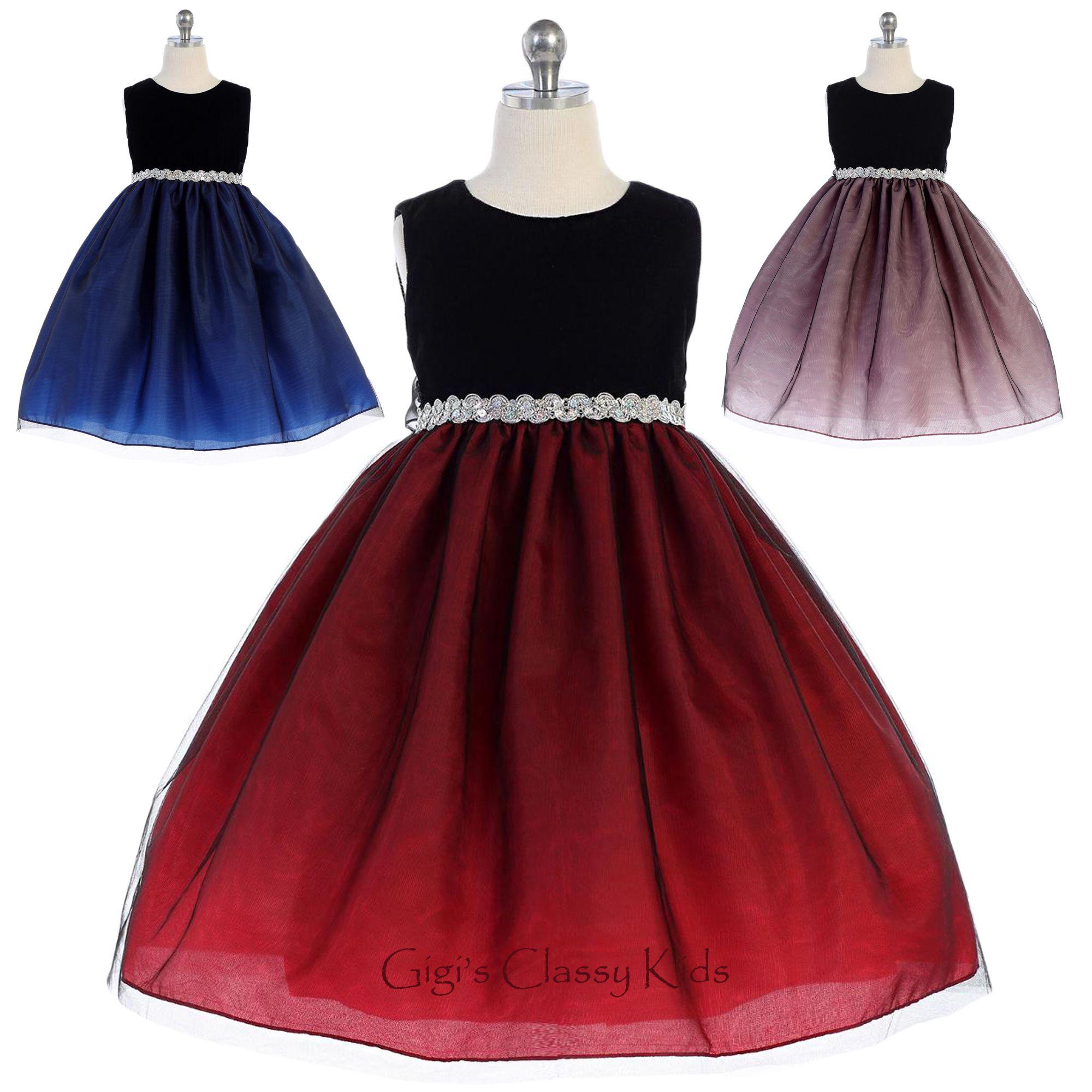 Flower Girls Black Velvet Organza Dress Christmas Holidays Party Wedding New 385