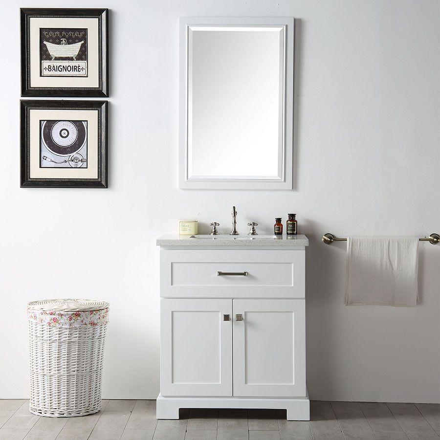 "Legion Furniture 30"" White Wood Single Sink Vanity Set Quartz Top - WH7630-W"