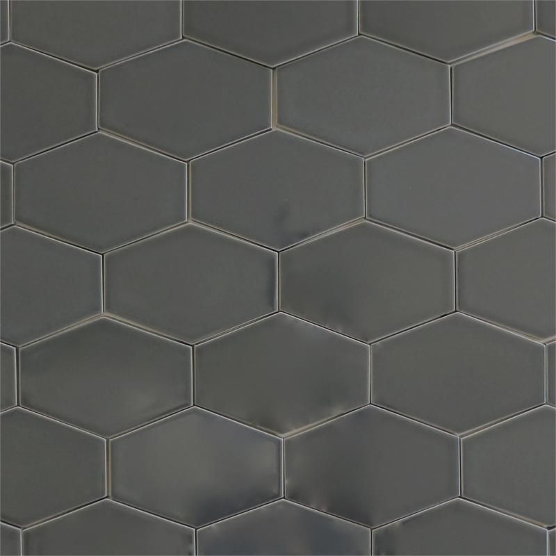 Ceramic Stretched Hex Tile For Kitchen Backsplash Or Bathroom Tile In Grey Color Carbon Hex Tile Grey Ceramic Tile Hexagon Tile Floor
