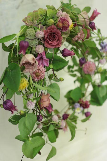 一会レッスン6月 リースブーケ : 一会 ウエディングの花