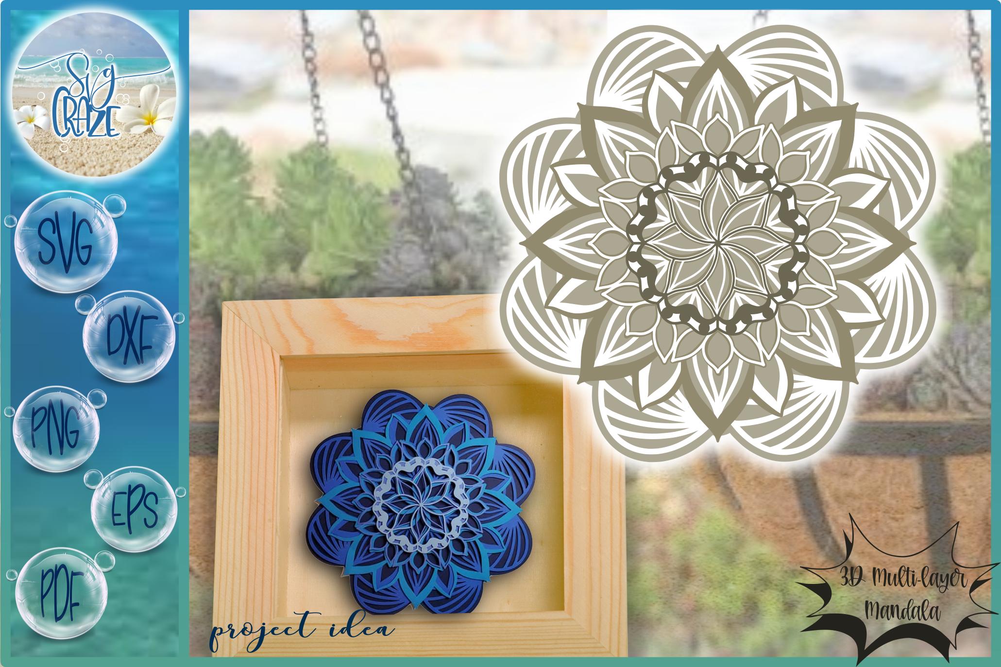 Download 3D Mandala Multi Layered Floral Mandala SVG in 2020 ...