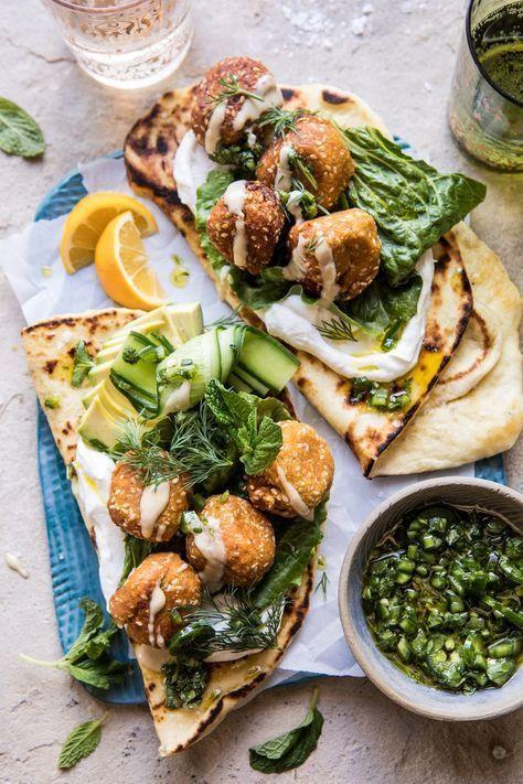 Sesame Falafel with Ginger Tahini and Jalapeño Sauce  EDIBLE  main dish