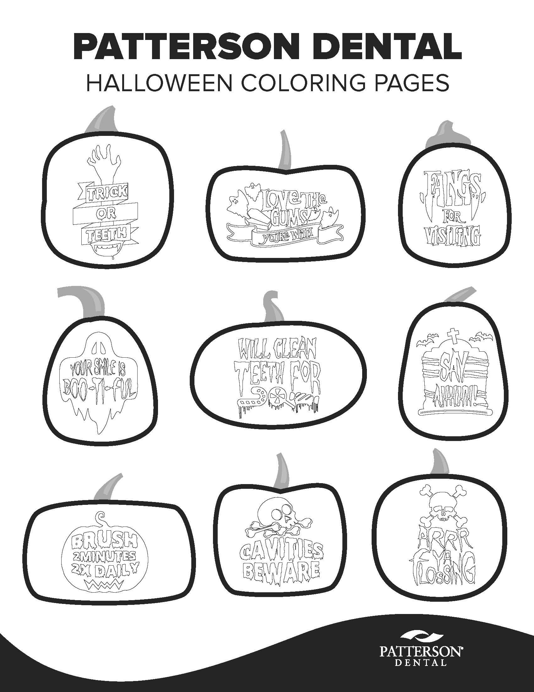 9 Free Halloween Coloring Pages Featuring Punny Dental Phrases