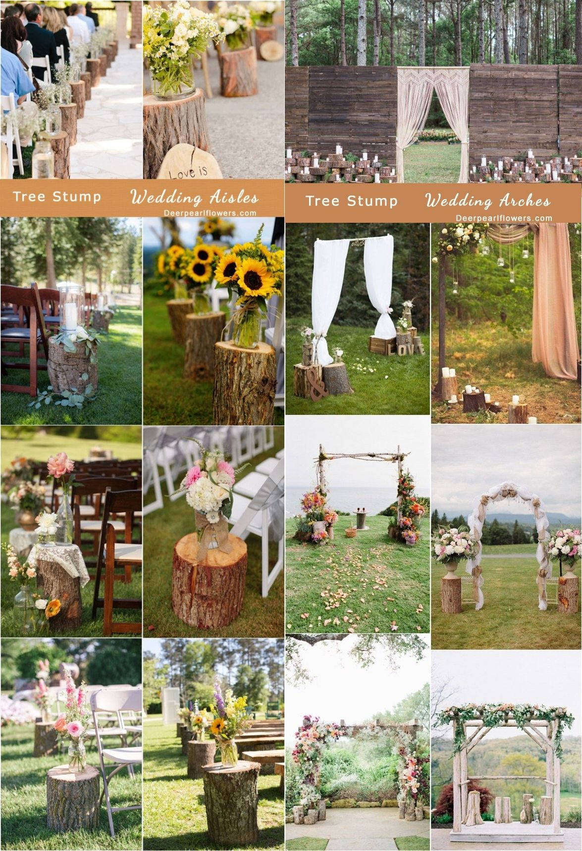 Country wedding decoration ideas  Rustic Woodsy Wedding Trend   Tree Stump  Woodsy wedding