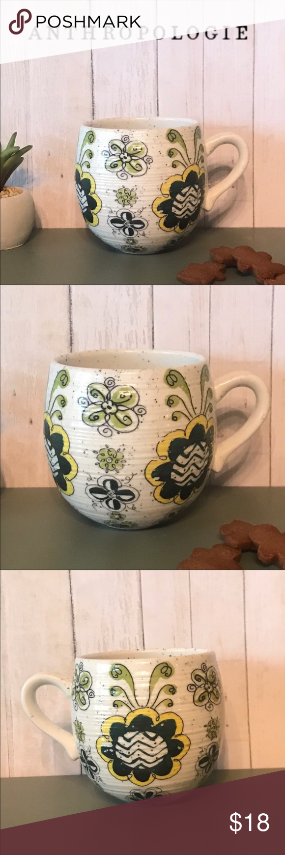 Anthropologie Biscuit Floral Mug Yellow mugs, Mugs