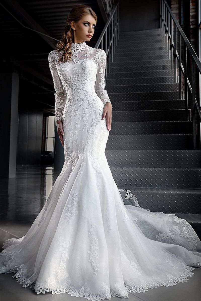 68f75f010727 Mermaid Lace Wedding Dresses with High Neck Long Sleeves. Jacket Custom  Made Bridal Gowns.