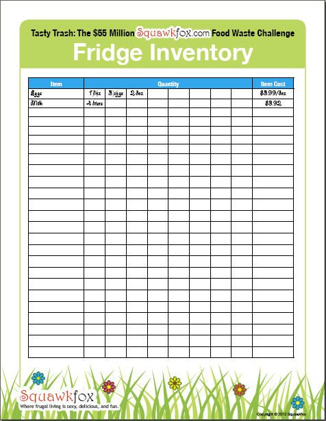 Refrigerator Inventory 5 Steps to a freshly frugal fridge Dry - Inventory Log Sheet