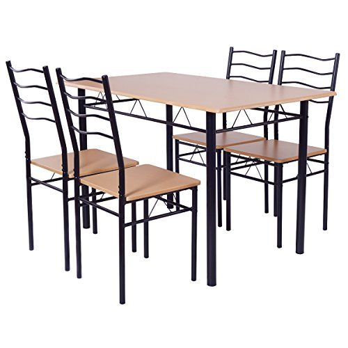 Pleasant Giantex Modern 5 Piece Dining Table Set For 4 Chairs Wood Frankydiablos Diy Chair Ideas Frankydiabloscom