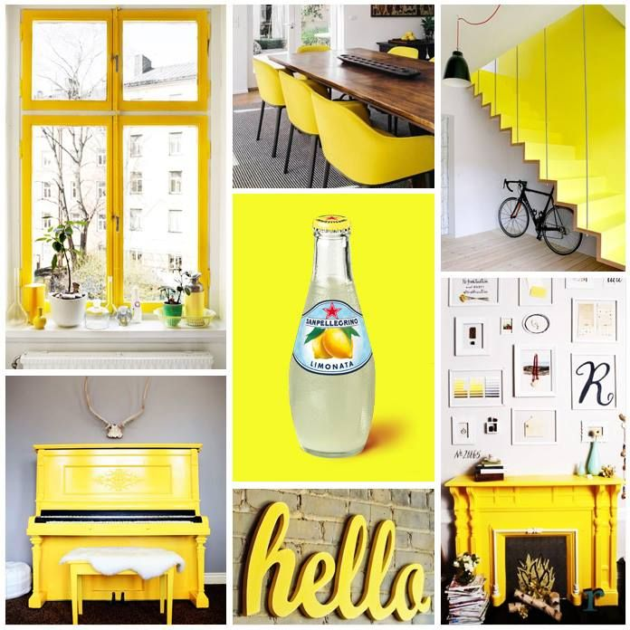 What about giving some positive energy to your home interiors with Limonata's color? #sanpellegrinofruitbeverages #limonata #yellow #moodboard