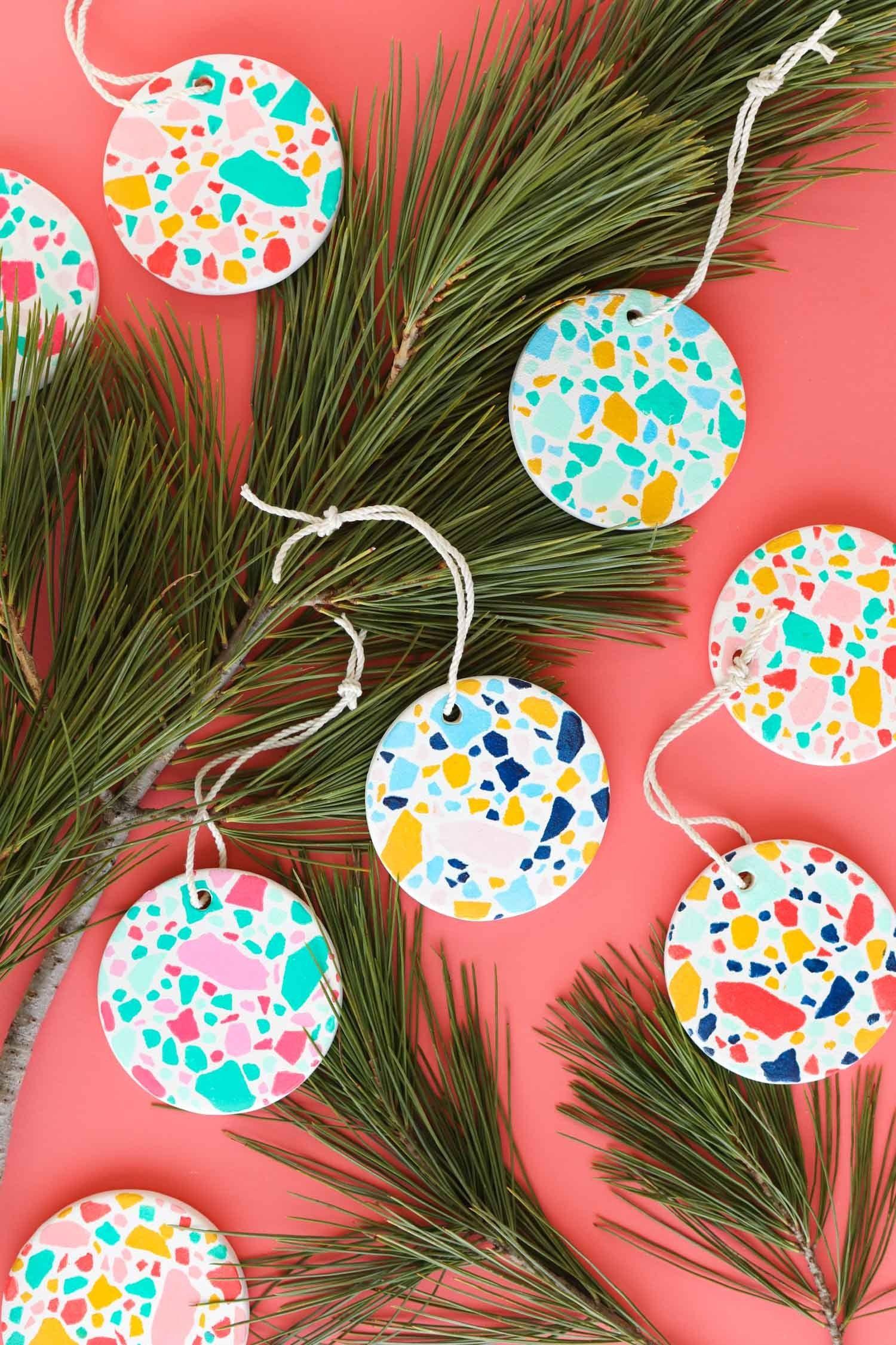 DIY Faux Terrazzo Ornaments