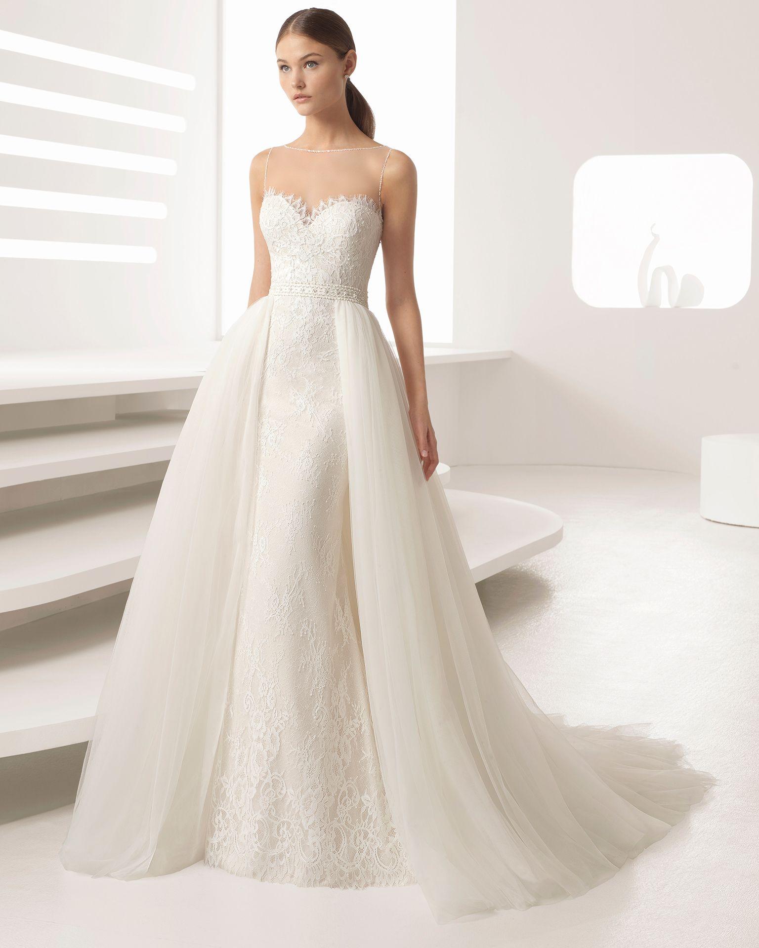 Vestidos de novia rectos con encaje