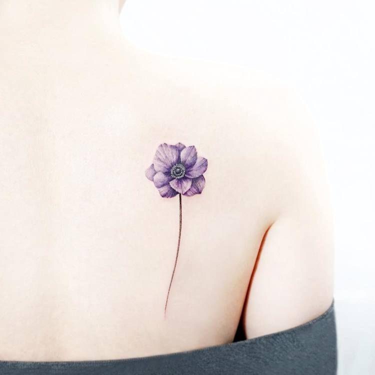 22 Pretty Anemone Tattoo Designs And Ideas Tattooadore Violet Flower Tattoos Larkspur Flower Tattoos Anemone Tattoo