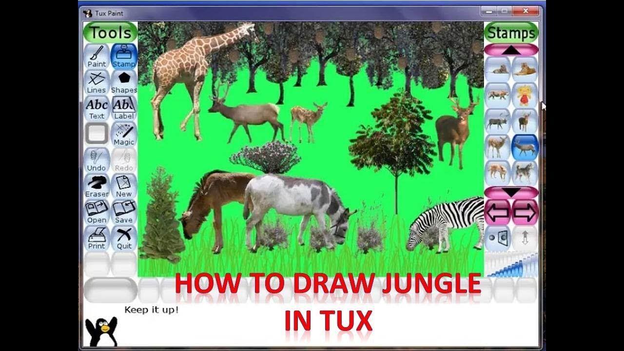 Draw Jungle Using Tux Paint Tux Paint Painting Tux