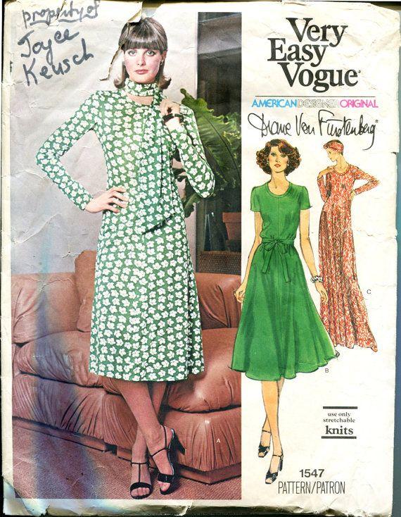 Vintage 70s Diane von Furstenberg Sewing Pattern 34 Bust Size 14 ...