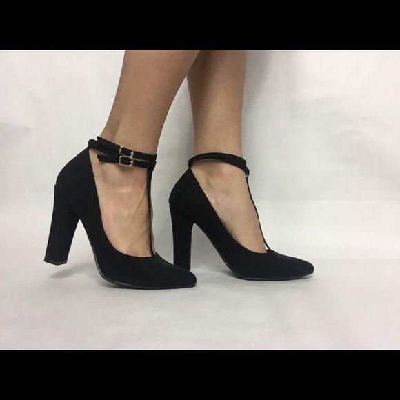 Black closed toe strapped heels | Black