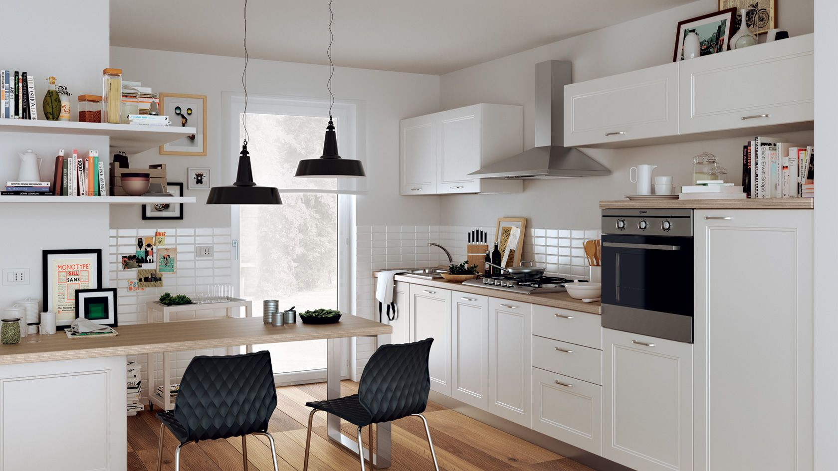 Small Kitchen Diner Straight Line Kitchen In A Multipurpose Room Scavolini Casa