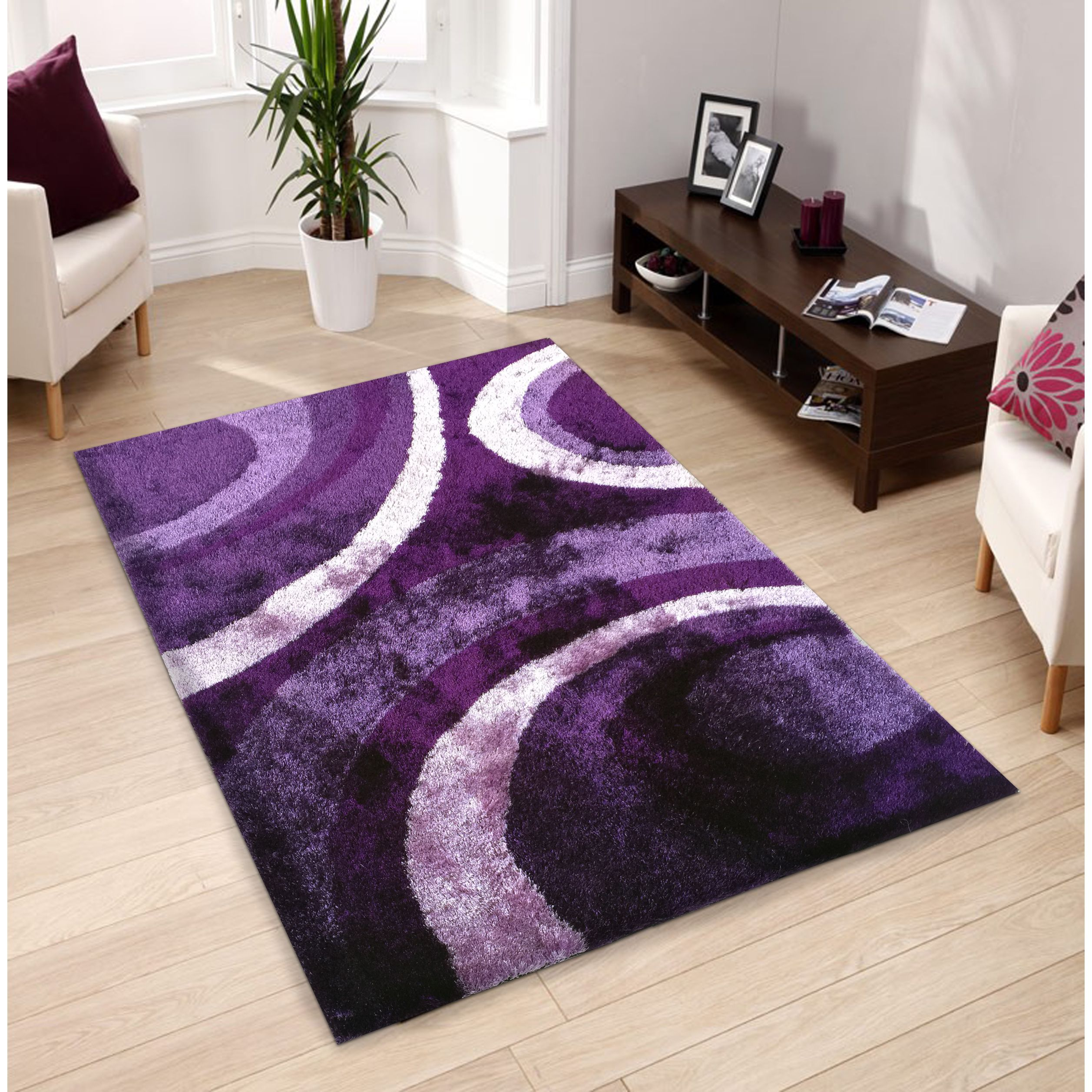 Hand-tufted Purple Shag Area Rug (5' X 7') (Purple), Size