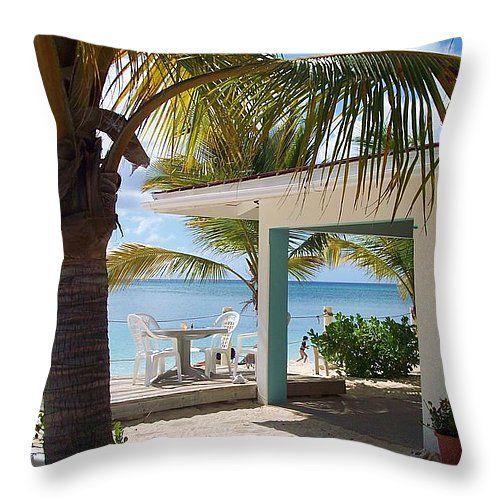 """Beach in Grand Turk Throw Pillow 14"""" x 14"""""""