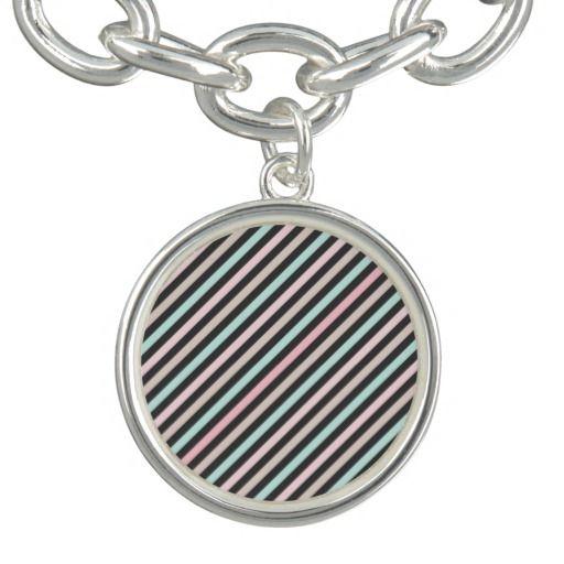 Vintage Girly Pink Plack Pastel Colors Stripes Charm Bracelet