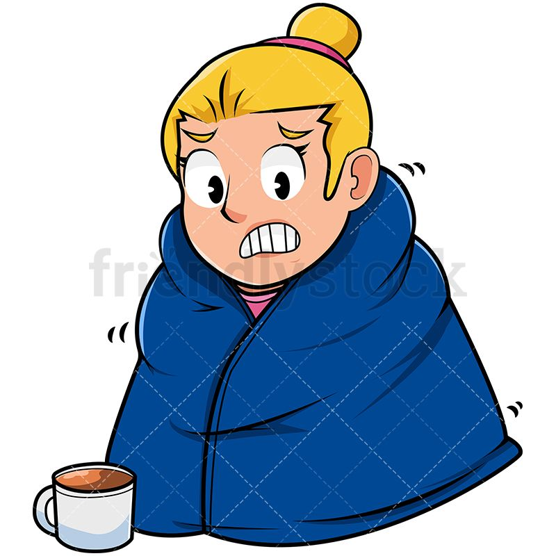 Shivering Woman Trying To Stay Warm With Blanket Stay