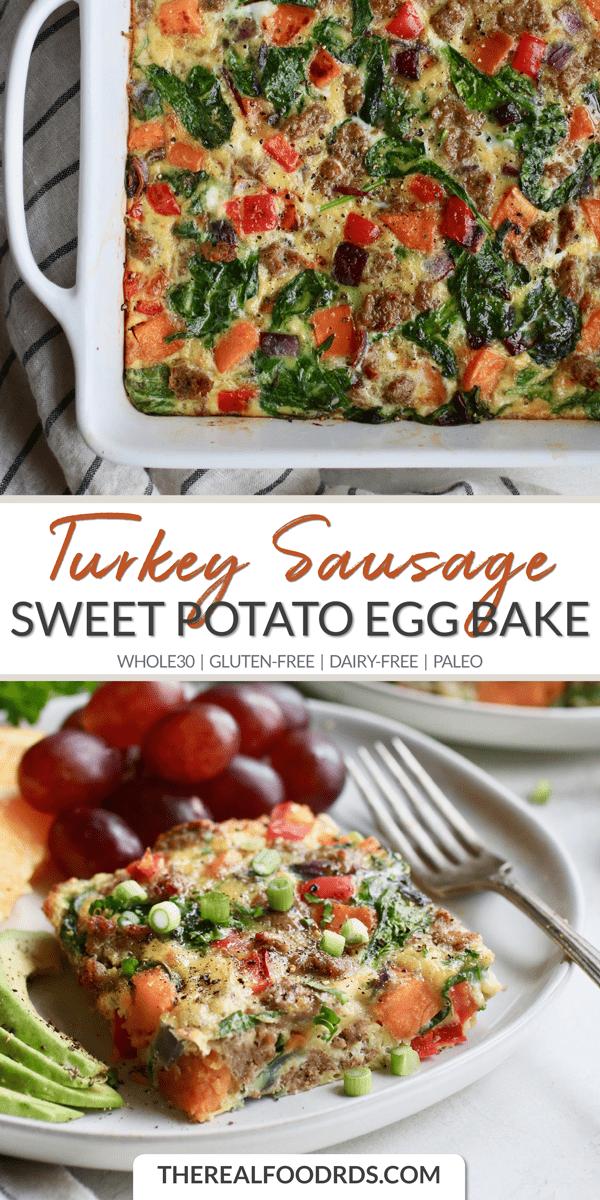 Sweet Potato Turkey Sausage Egg Bake #glutenfreebreakfasts