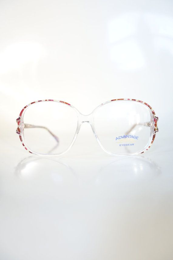 97a3cabf3c Retro 1980s Oversized Clear Hipster Glasses Womens Eyeglasses 80s ...